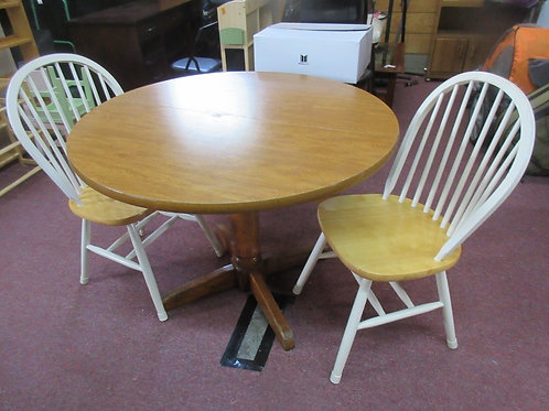 """Round 42"""" formica table & 2 chairs with natural wood seats"""