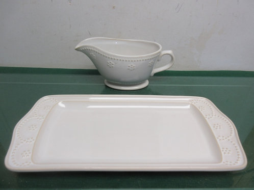 Food Network 2pc serving set, Rectangular tray and gray boat