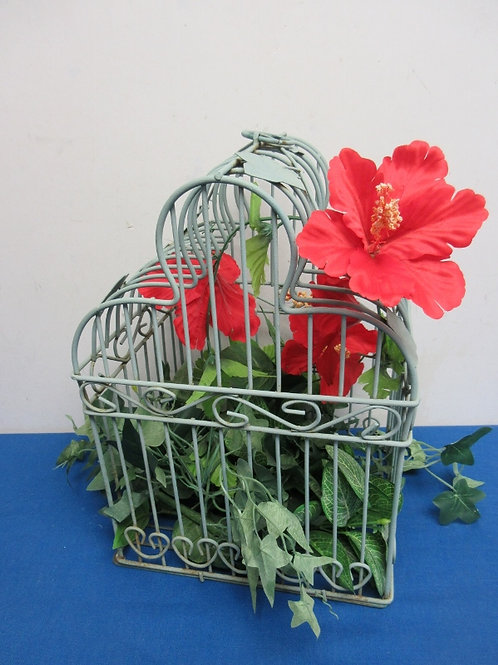 """Green metal birdcage with florals, 14"""" tall"""