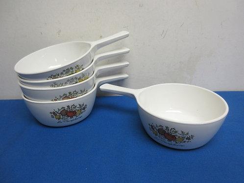 Set of 5 corning single handle bowls