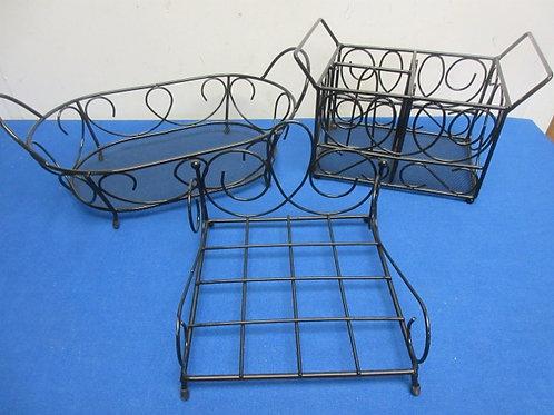 Black metal wire ornate design 3 pc table/serving set - napkin, bowl, and utensi