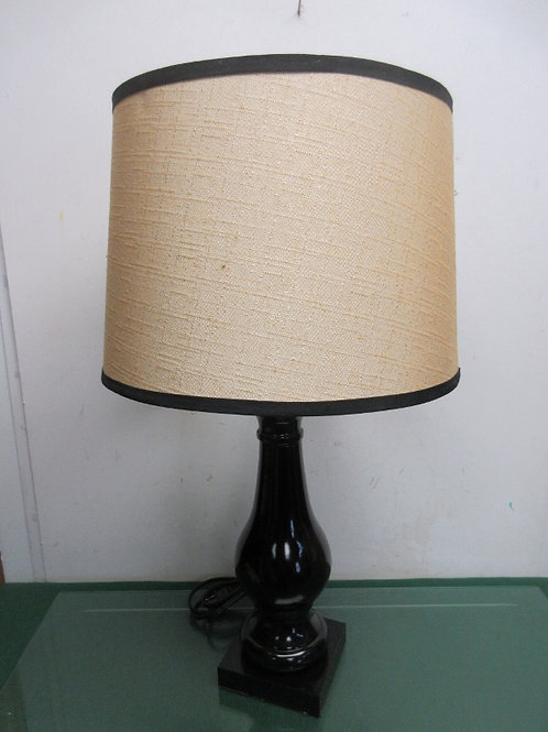 Black table lamp with beige drum shade - 2 avail