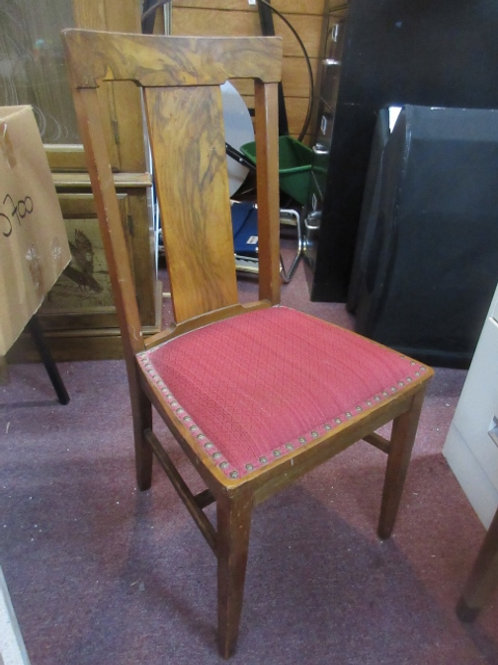 Vintage wooden side chair with burgundy seat and nail head accents