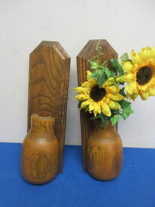 """Pair of wood flat vases for hanging, one has sunflowrs12"""" tall"""