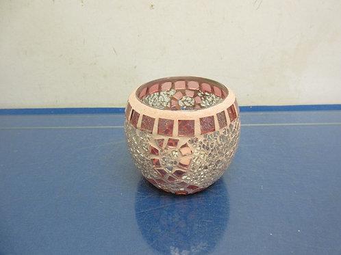 Pink mosaic tea light holder