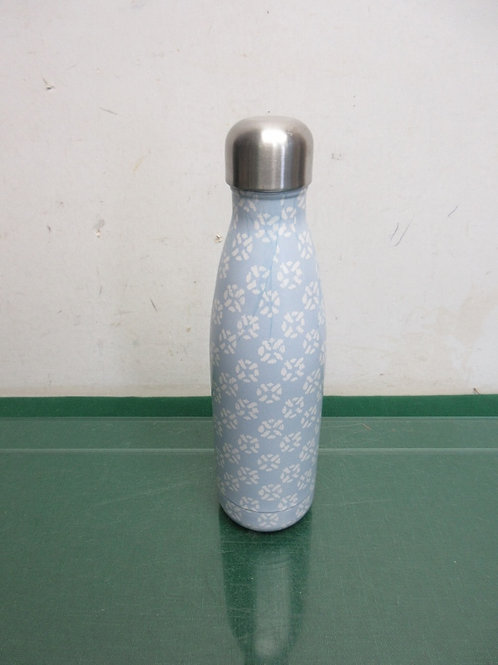 Threshold blue & white stainless bottle shaped thermos with screw on lid