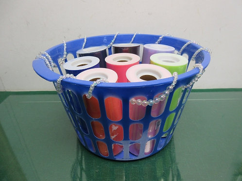 Blue basket with 8 rolls of colored tulle fabric for wreaths -ea 25 yrds - all n