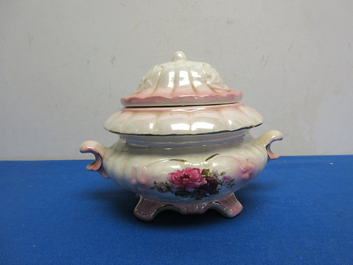 Pink and white irridescent bowl with lid