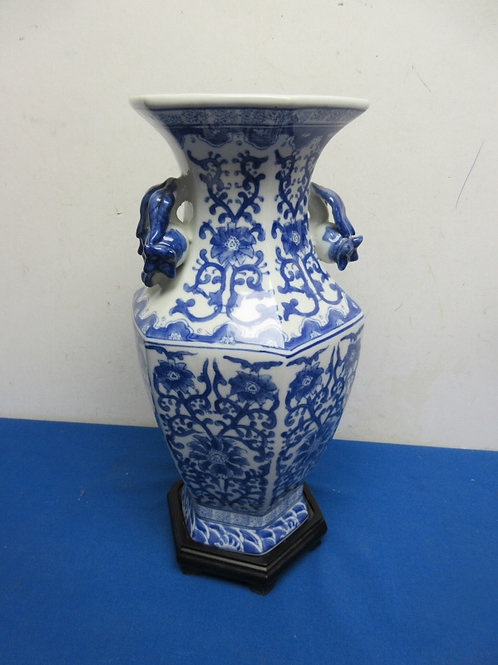 """Asian blue and white vase with black asian stand - 15"""""""