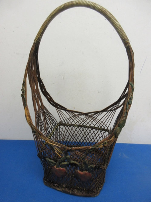 "Vintage basket with apple design, 18"" tall"
