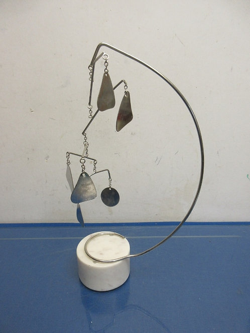 Pottery Barn tabletop desk décor - white marble base with silver hanging art