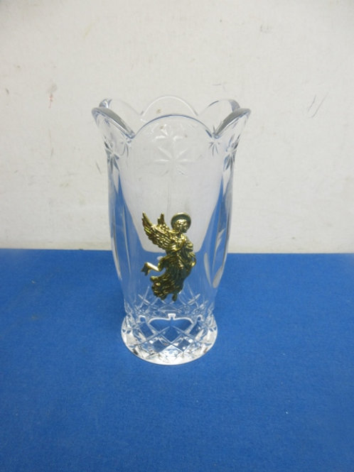 """Leaded crystal candle shade with gold angel on side - 7"""""""