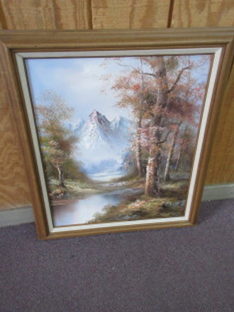 Painting of a mountain stream with trees, wood frame 25x29