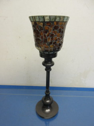 "Z-gallery brown metal candle stand with mosaic votive holder 13""high"