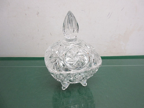 Irena from Poland cut glass small square pedestal bowl with lid
