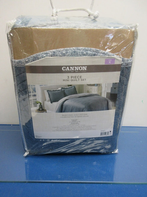 Cannon King size blue quilt and sham set, New
