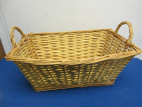 """Large rectangular woven basket with handles, 12x18x8"""" tall"""