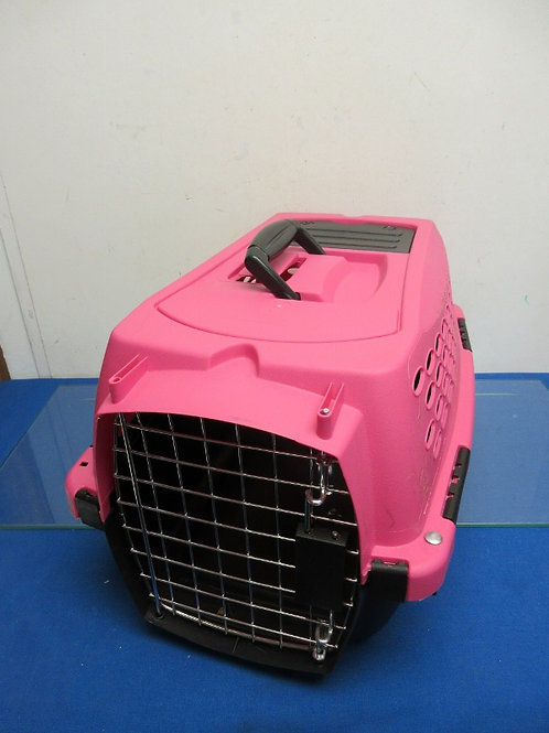 """Small pink and black pet carrier, 10x18x10"""""""