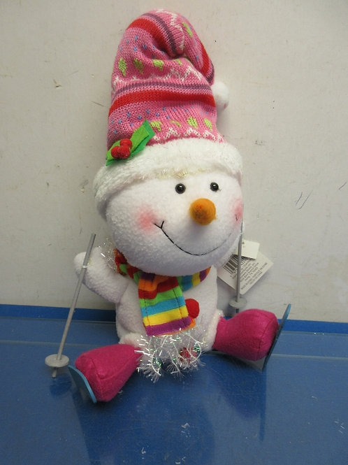 Plush snowman with pink hat and skis - weighted bottom - new