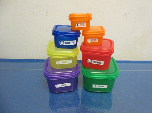 Meal portion 21 day food control containers, assorted colors and sizes