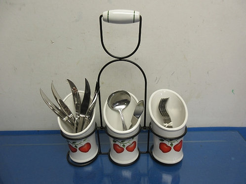 """Utensil holder in black metal caddy, includes some utensils 12x14""""tall"""
