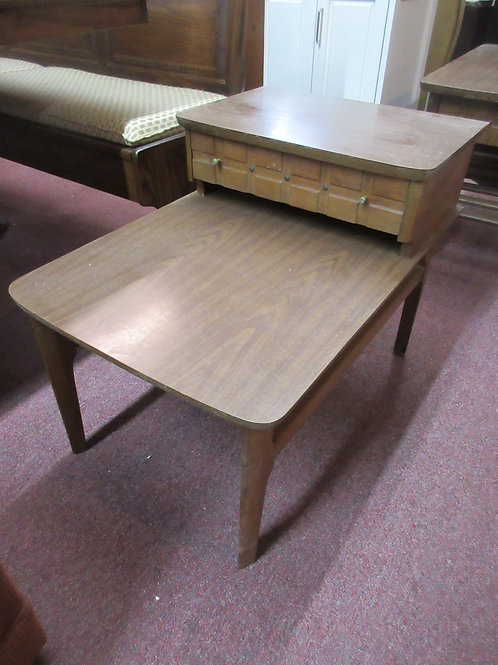 """Mid century brown formica 2 tier end table 20x30x22"""""""