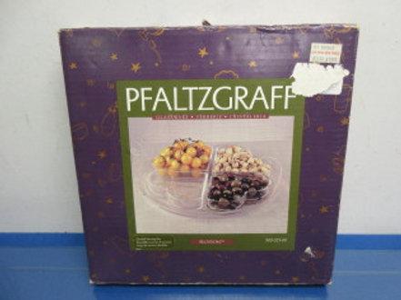 "Pfaltzgraff ""Blossom"" glass divided serving set, never used"