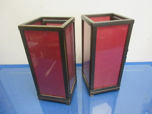 """Pair of Partylite metal and glass lantern type candle holder, 10"""" tall"""