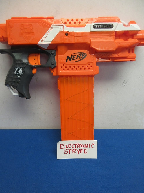 Nerf orange elite electronic stryfe gun - includes a few darts