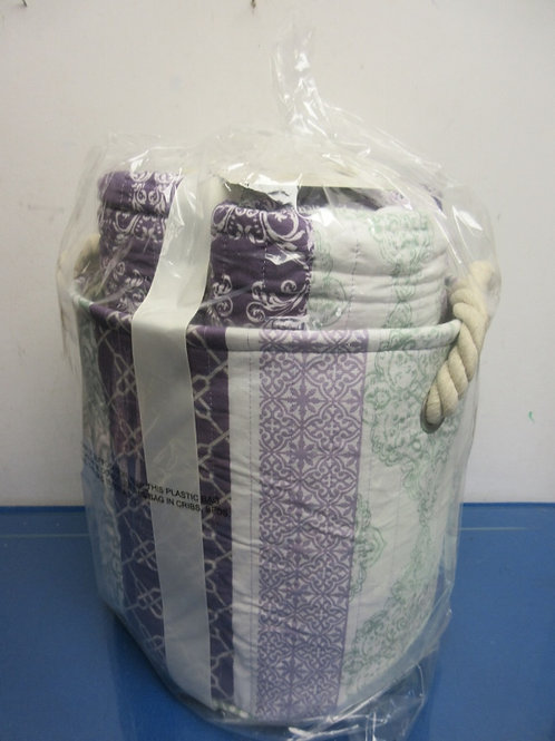 Home Reflections Decor-3pc Full size quilt set & storage bin, purple/green