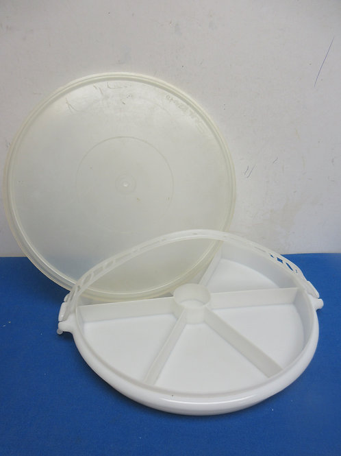 Tupperware flat container with 6 divied sections and a lid