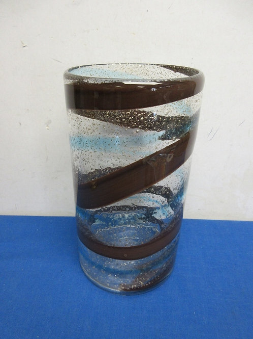 """Heavy decorative glass vase  with brown& blue swirl-10"""" tall"""