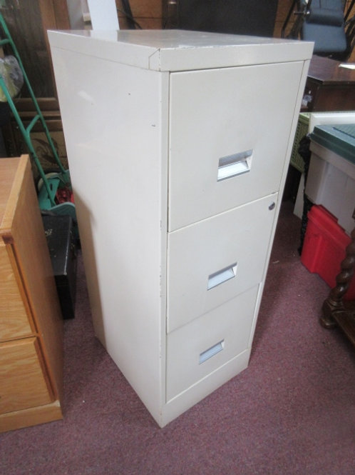 """Tan 3 drawer metal filing cabinet, 15x18x40""""high"""