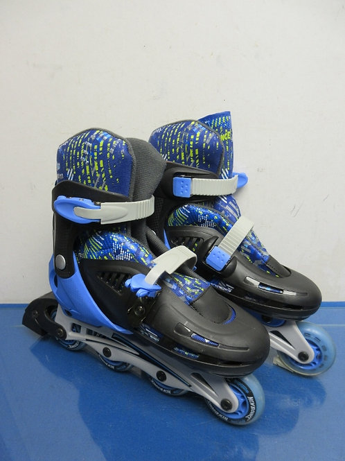 Pair of blue and black adjustable child's roller blades - fits sizes 2,3,4,and 5