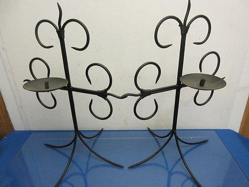 Set of 2 wrought iron tabletop cross design pillar candle holders