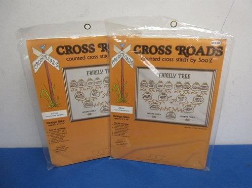 Pair of family tree cross stitch kits