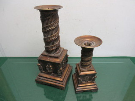Set of 2 copper tone pillar style candle holders with square base