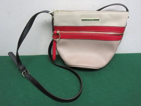 Ann Klein 2 tone beige purse with red stripe