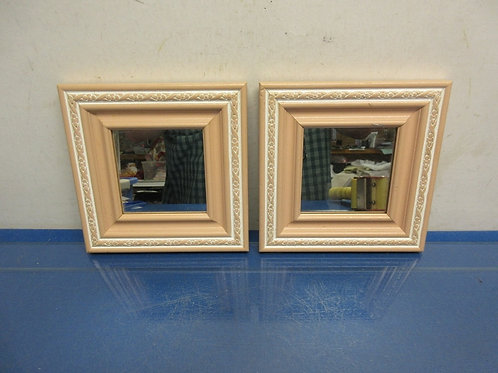 Pair of small square wall mirrors wide wood frames