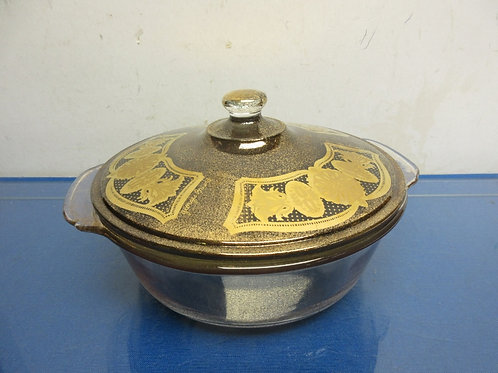 Vintage Fire King 2qt glass casserole  dish with lid, gold accents on lid