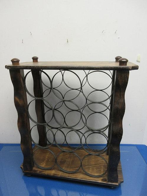 Tabletop wood and metal wine rack-holds 12 bottles