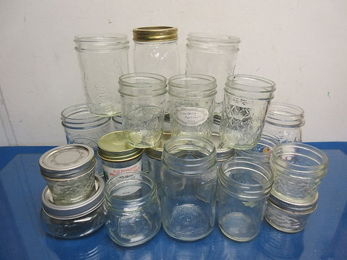 Box of 22 small and medium canning jars
