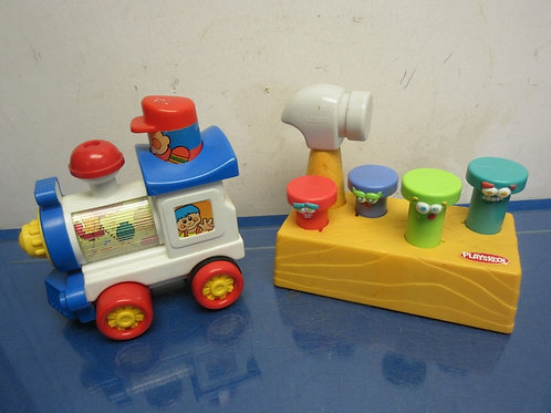 Playskool hammer and peg toy, and musical train toy