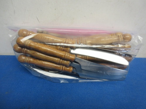 Silverware with wood handles, 24 pcs, service for 6