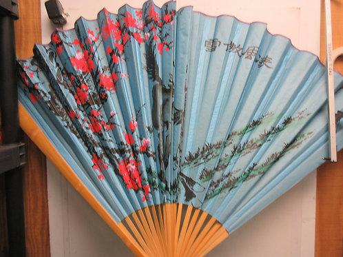 Decorative oriental fan - blue with horse scene - folds up - 5ft when open