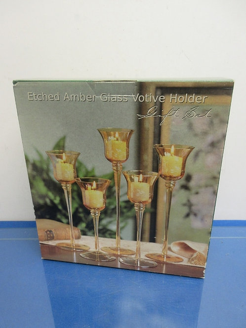 Amber etched graduated height stemmed votive holders, 5pc set