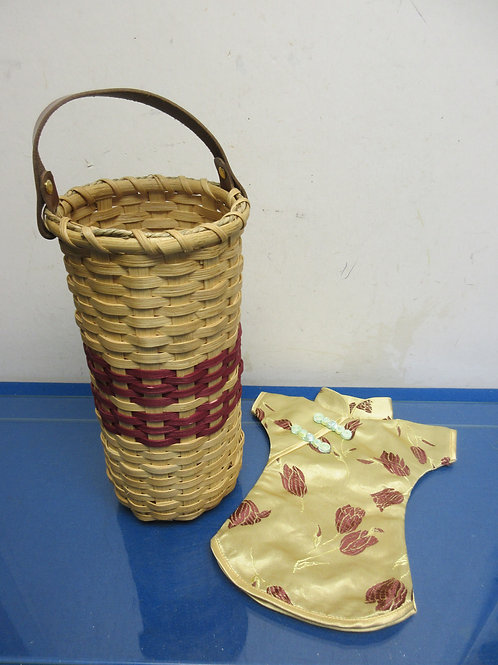 """Light tone wicker wine bottle holder w/leather strap &cloth cozy cover 12""""high"""