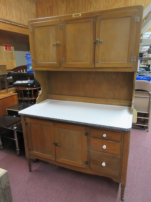 Antique large hoosier cabinet with white enamel counter top-multi cabinet storag