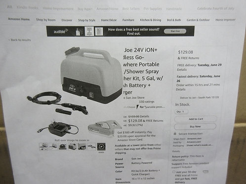 SunJoe cordless portable spray washer, used once