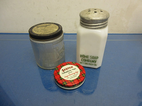 Set of 3 vintage containers - home soap co, scotch tape, burma shave